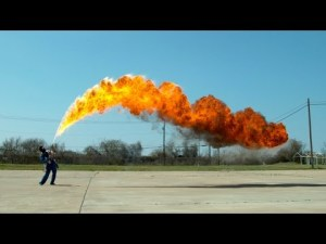 50 ft Flamethrower in 4K Slow Motion